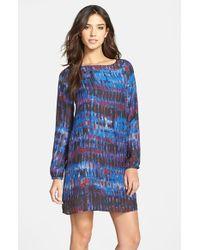 BB Dakota - Blue 'emily' Print Long Sleeve Shift Dress - Lyst