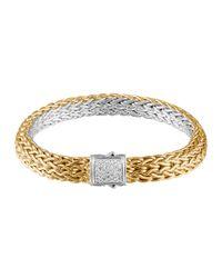 John Hardy - Metallic Classic Chain Gold & Silver Diamond Small Reversible Bracelet - Lyst