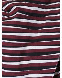 Carven - Brown Striped Wrap Blouse - Lyst