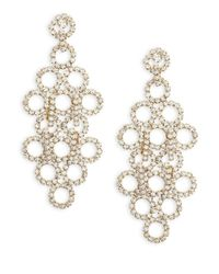 ABS By Allen Schwartz | Metallic Crystal Circles Chandelier Earrings | Lyst