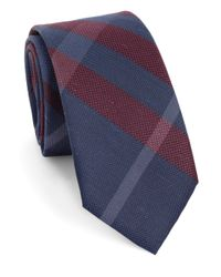 Burberry - Blue Large Check Silk Tie - Lyst