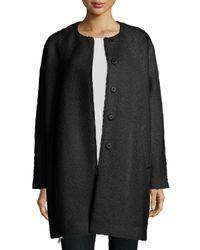 Eileen Fisher - Black Fisher Project Alpaca-blend Cocoon Coat - Lyst