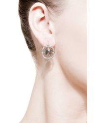 Sylva & Cie | Metallic Rough Diamond Drop Earrings | Lyst