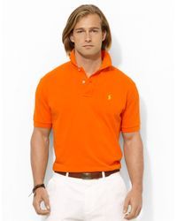 e0fa2ca0 Lyst - Polo Ralph Lauren Classic-Fit Mesh Polo Shirt in Orange for Men
