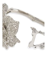 Alexander McQueen | Metallic Silver Tone Crystal Embellished Lily Cuff | Lyst