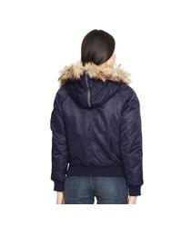Polo Ralph Lauren - Blue Hooded Down Bomber Jacket - Lyst