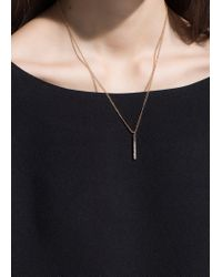 Mango - Metallic Rhinestone Bar Necklace - Lyst