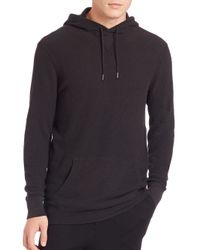 Polo Ralph Lauren | Black Ribbed Cotton Hoodie for Men | Lyst