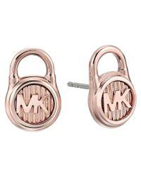Michael Kors - Multicolor Logo Lock Stud Earrings (gold 2) Earring - Lyst
