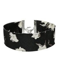 Steve Madden | Black Material With Floral Pattern Choker Necklace | Lyst