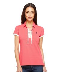U.S. POLO ASSN. - Pink Lace-up Pique Polo Shirt - Lyst