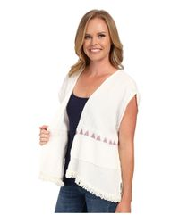 Dylan By True Grit - White Soft Gauzy Cotton Short Sleeve Jacket W/ Screen Print And Fringe - Lyst