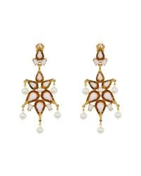 Oscar de la Renta | Multicolor Cabochon Pear Stone And Pearl C Earrings | Lyst