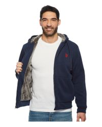 U.S. POLO ASSN. - Blue Sherpa Lined Fleece Hoodie for Men - Lyst