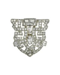 Kenneth Jay Lane - Metallic Silver And Crystal Deco Pin - Lyst