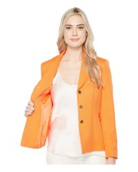 Tahari - Orange Novelty Three-button Jacket W/ Belt - Lyst