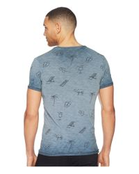 Scotch & Soda - Blue Oil-washed Tee With Cut & Sewn Styling for Men - Lyst