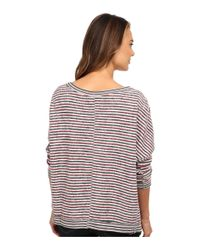 Free People - Gray Little Ann Striped Pullover - Lyst