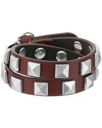 Rebecca Minkoff - Multicolor Double Row Leather Bracelet With Pyramid Studs - Lyst