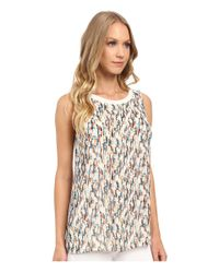 Ellen Tracy   Multicolor Printed Georgette Overlay Knit Tank Top   Lyst