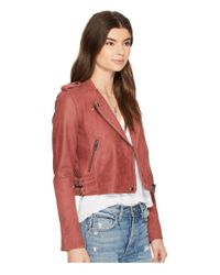 Lucky Brand - Pink Washed Moto Jacket - Lyst