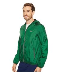 Lacoste - Green Taffetas Hoodie Jacket With Mesh Linen for Men - Lyst