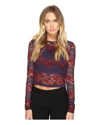 Romeo and Juliet Couture - Red Long Sleeve Crop Lace Top - Lyst