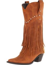 "Roper - Brown 12"" Stud And Fringe Boot - Lyst"