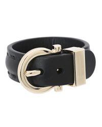 Ferragamo | Black Gancio Leather Bracelet | Lyst
