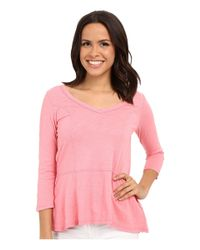 Mod-o-doc - Pink Slub Jersey Seamed V-neck Tee - Lyst