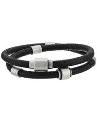 Steve Madden - Black Rondelle With Arrow Pebbled Leather Bracelet for Men - Lyst