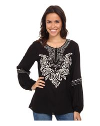 Scully - Black Gabriella Embroidered Top - Lyst