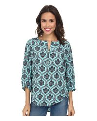 Karen Kane - Blue Split Placket Top - Lyst
