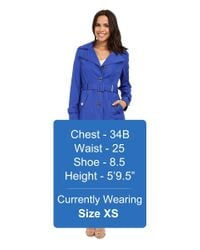 Calvin Klein - Blue Single Breasted Hooded Belted Trench W/ Printed Liner - Lyst