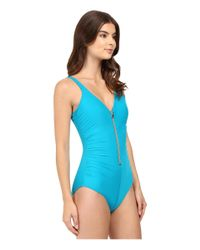 Miraclesuit - Blue Solid Ziptress One-piece - Lyst
