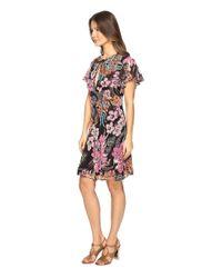 Just Cavalli - Black Flower Power Print Flutter Sleeve Dress - Lyst