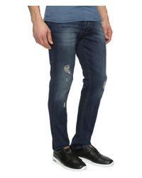 Calvin Klein Jeans - Blue Slim Fit Jeans In Abbott Kinney Destructed Wash for Men - Lyst