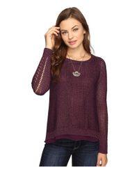 Lucky Brand | Purple Metallic Mixed Sweater | Lyst