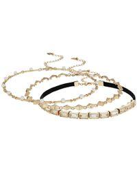 Steve Madden - Metallic S 3 Piece Velvet Cast Stone/chain Chokers Necklace - Lyst