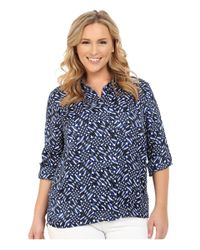 MICHAEL Michael Kors - Blue Merver Hi-lo Button Down Top - Lyst
