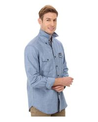 U.S. POLO ASSN. - Blue Solid Canvas Sport Shirt for Men - Lyst