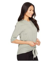 Lilla P - Gray Tie Front Blouse - Lyst