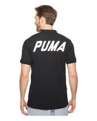 PUMA - Black Color Block Polo for Men - Lyst