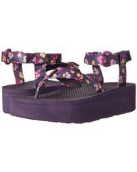 Teva - Purple Flatform Sandal Floral - Lyst