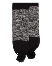 Ugg | Black Classic Marled Scarf W/ Sequins And Fur Pom | Lyst