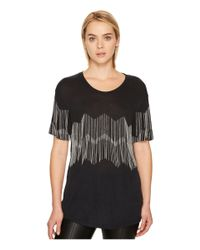 The Kooples - Black T-shirt With Chain Braid - Lyst