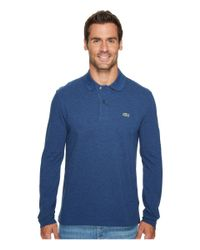 6af0ade2 Lyst - Lacoste Long Sleeve Classic Chine Pique Polo in Blue for Men