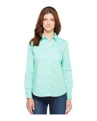 U.S. POLO ASSN. - Blue Stretch Poplin Dot Print Woven Shirt - Lyst