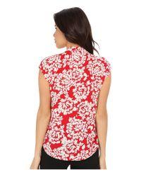 Velvet By Graham & Spencer - Red Cayne03 Challis Short Sleeve Blouse - Lyst