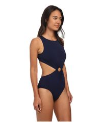 Michael Kors - Blue Draped Solids Open Back Maillot - Lyst